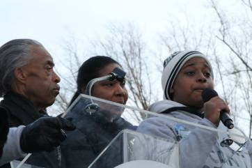 Left to right: Rev. Al Sharpton, Eric Garner's wife and daughter